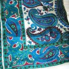 "Paisley blue burgundy Hand Craft Inc, silk scarf  22"" sq  India hand rolled edge"