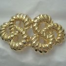 """Twisted Rope Knot gold tone 2 piece wide belt buckle  4.25"""" L x 2.25"""" W"""
