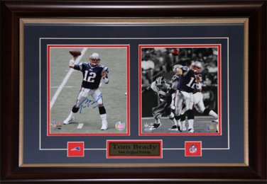 Tom Brady New England Patriots Signed 2 photo Frame