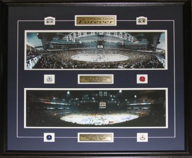 Toronto Maple Leafs Gardens ACC Last First Game Frame Signed by Bower & Kelly