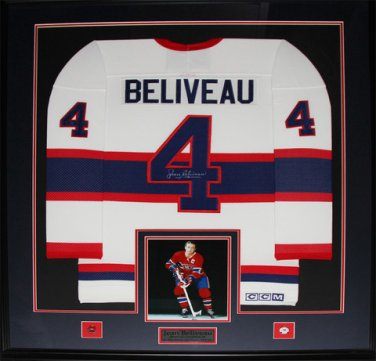 Jean Beliveau Montreal Canadiens signed jersey frame
