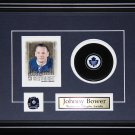 Johnny Bower Toronto Maple Leafs signed card with puck frame