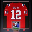 Tom Brady New England Patriots signed jersey frame red