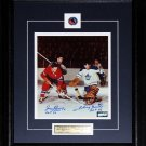 Jean Beliveau & Johnny Bower Maple Leafs & Canadiens Signed 8x10 frame