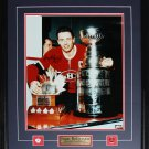 Jean Beliveau Montreal Canadiens Stanley Cup trophies signed 16x20 frame