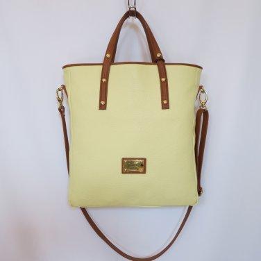 New Valentina Genuine Leather Light Mustard Tote/Shoulder/Handbag Article 1682 Italy