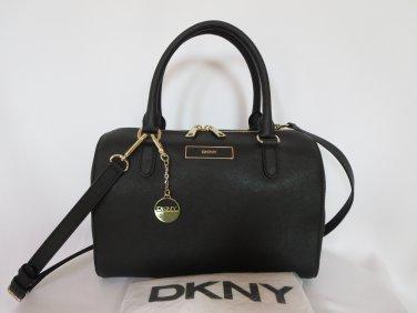 New DKNY Donna Karan Black Saffiano Geniune Leather Satchel/Shoulder/Handbag