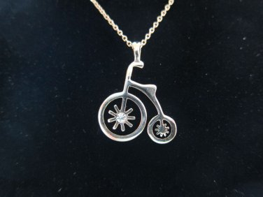 18K Gold plated farthing italina bike bicycle pendanct necklace Fashion alloy