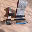 PCI Serial Parallel Header 9 Pin Male DB9& DB25 Pin Female Cable Bracket w/screw