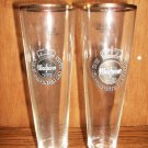Two Warsteiner German Beer Glasses Tall Gold Rim Collectable 0,25 liters