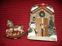 TWO CHRISTMAS DECORATIONS HORSE AND SNOWMAN
