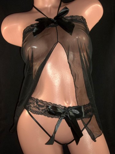 Lace Bow tie Halter Nighty with Hipster G-String- sexy Lingerie