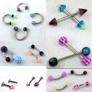 Colorful Acrylic Surgical Steel Body Piercing Jewelry- *Pack of 5* Many styles & sizes