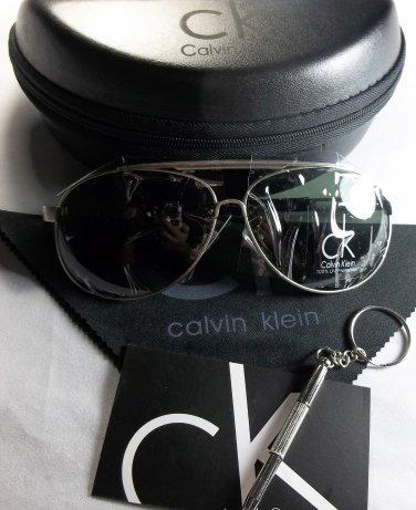 Calvin Klein Lightweight, Polarized Aviator Sunglasses-Silver Frame/Green Lens