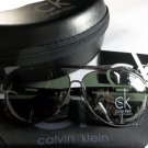 Calvin Klein Lightweight, Polarized Aviator Sunglasses-Gunmetal Frame/Green Lens