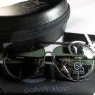 Calvin Klein Lightweight, Polarized Aviator Sunglasses-Gunmetal Frame/Green Lens