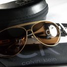 Calvin Klein Lightweight, Polarized Aviator Sunglasses-Gold Frame/Brown Lens