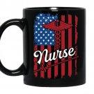 Nurse american flag nursing shcool Coffee Mug_Black