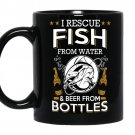 I rescue fish from water and beer from bottles coffee Mug_Black