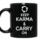 Keep karma and carry on coffee Mug_Black