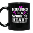 Nursing is a work of heart coffee Mug_Black