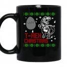 T rex christmas coffee Mug_Black