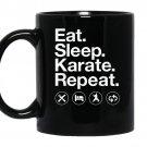 Eat sleep karate repea funny karate coffee Mug_Black