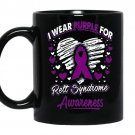 I wear purple for rett syndrome awareness coffee Mug_Black