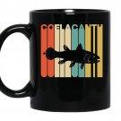 Vintage style coelacanth silhouette coffee Mug_Black