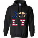 4th of july pug american flag dog Hoodie