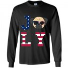 4th of july pug american flag dog Long Sleeve