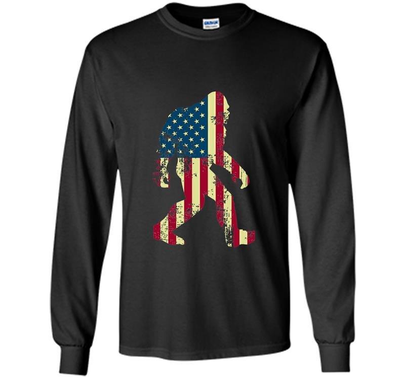 Bigfoot sasquatch american flag funny 4th of july Long Sleeve Gildan
