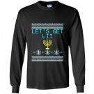 Lets get lit funny hanukkah sweater menorah Long Sleeve Gildan