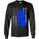 Male k 9 officer blue line flag for k9 handlers Long Sleeve Gildan