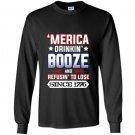 Merica 4th of july drinking party funny patriotic Long Sleeve Gildan