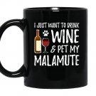 Wine and alaskan malamute for funny dog Mug Black