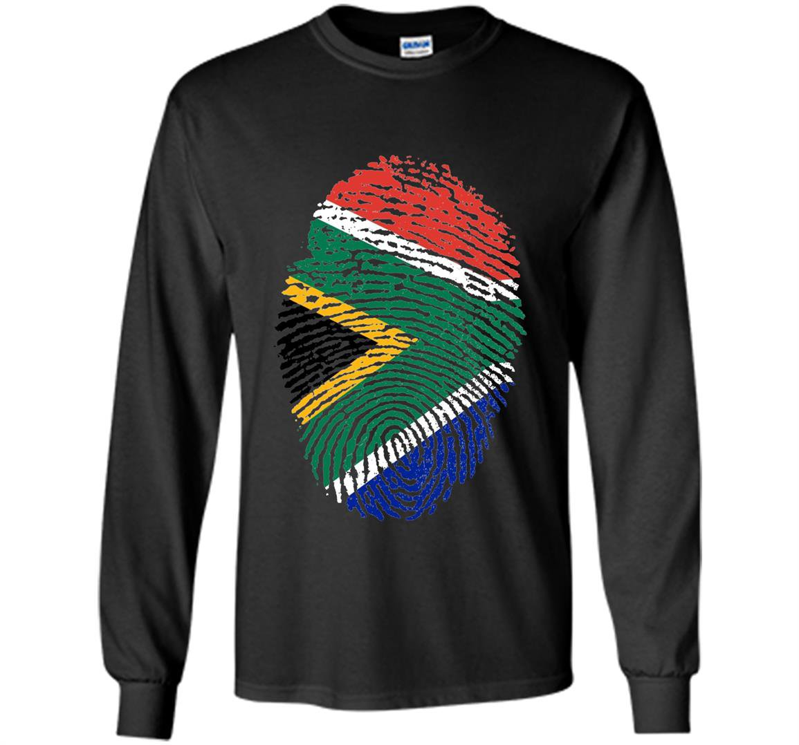 South africa dna flag thumb fingerprint roots proud Long Sleeve