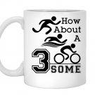 Triathlon gear funny swim bike run threesome Mug White