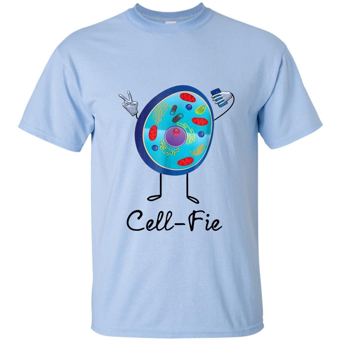 Cell fie funny science teacher selfie pun T-shirt
