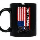 American flag wrestlingusa flag wrestling Mug Black