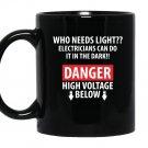 Danger high voltage funny electrician Mug Black
