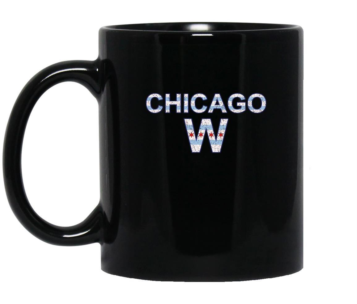 Chicago flag win vintage distressed style Mug Black