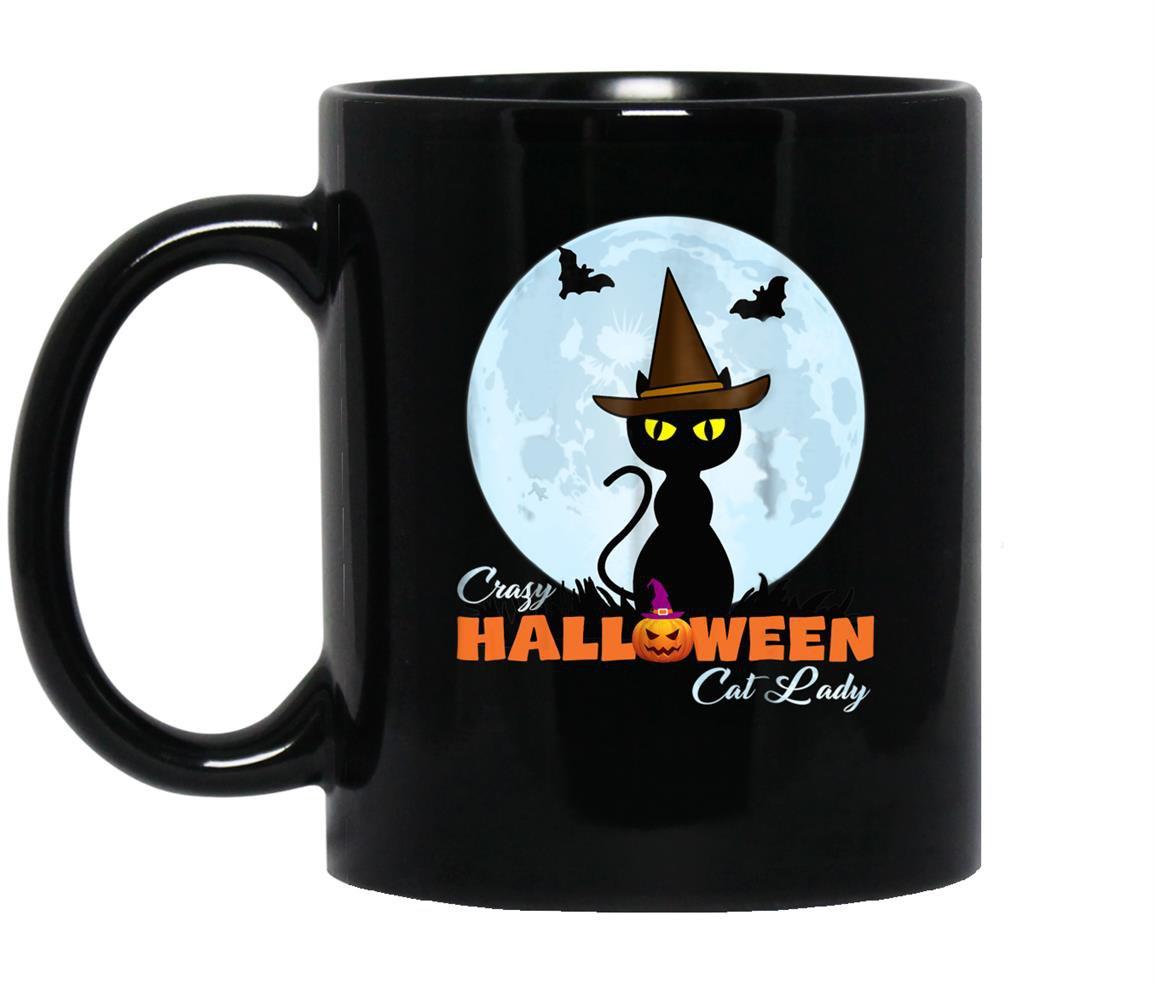 Crazy halloween cat lady funny cat in moon Mug Black
