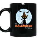 Crazy halloween cat lady funny cat in moon Mug Black