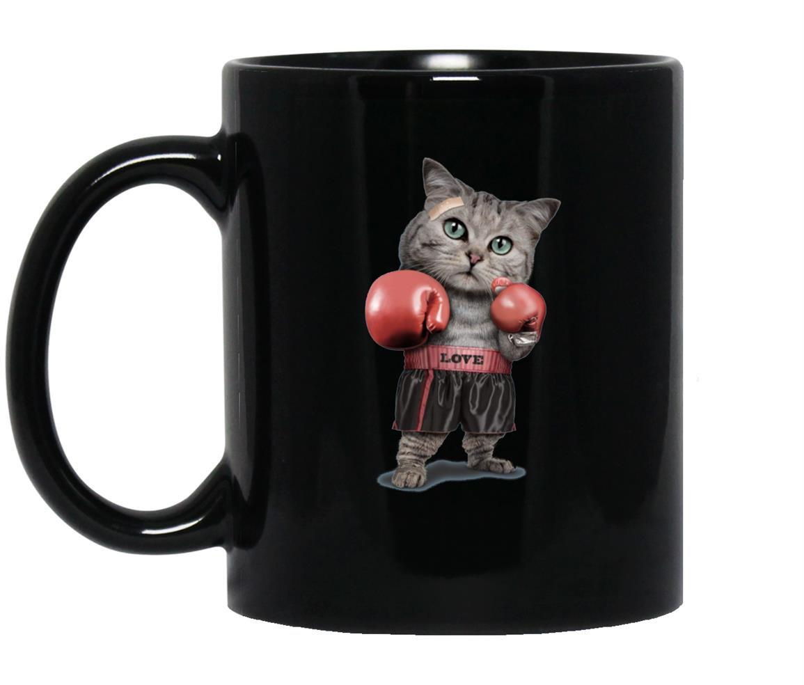 Funny boxing cat lovers gifts Mug Black