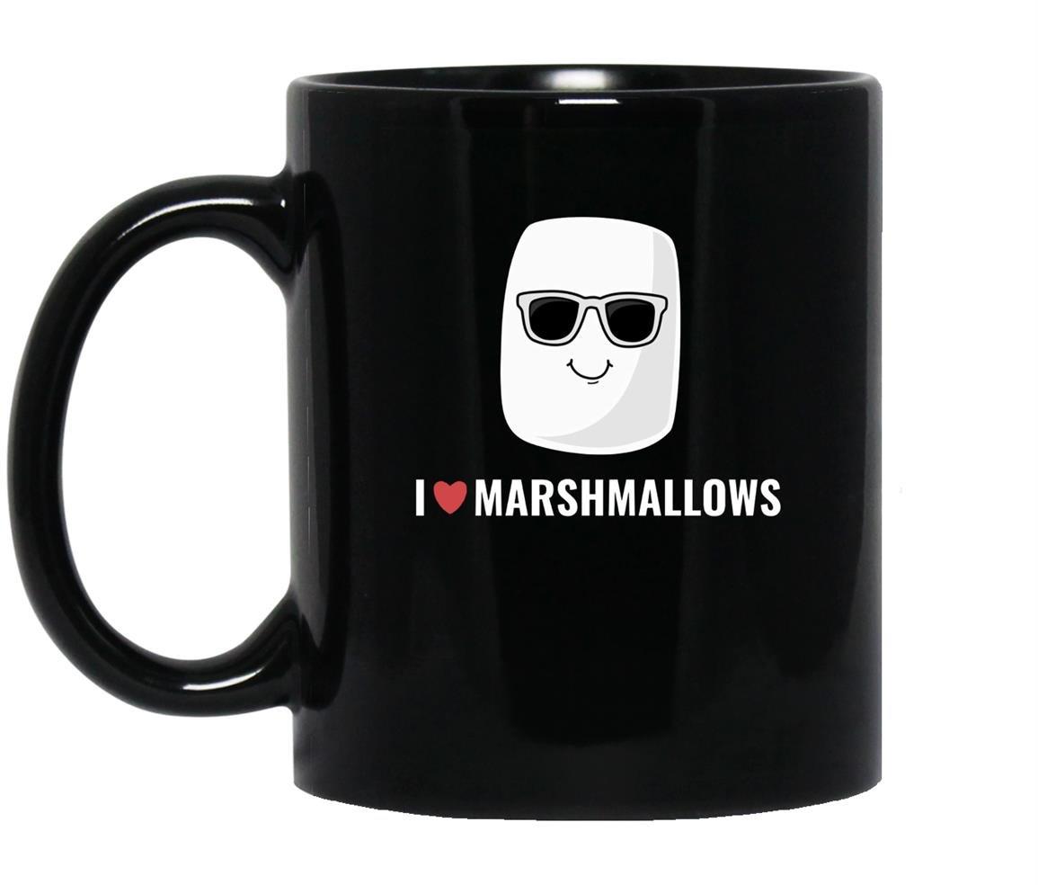 I love marshmallows cool cartoon sunglasses Mug Black