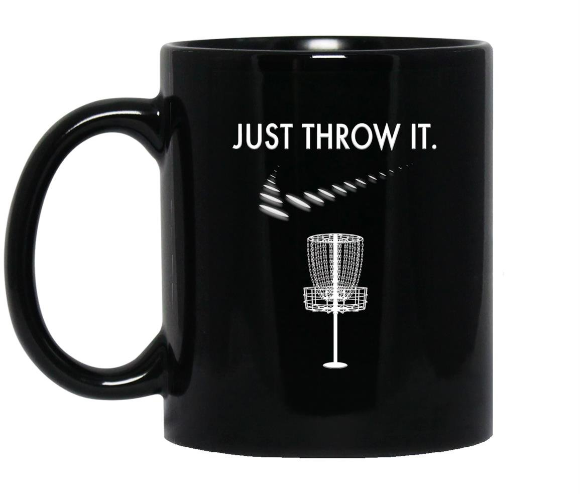 Just throw it white disc golf Mug Black