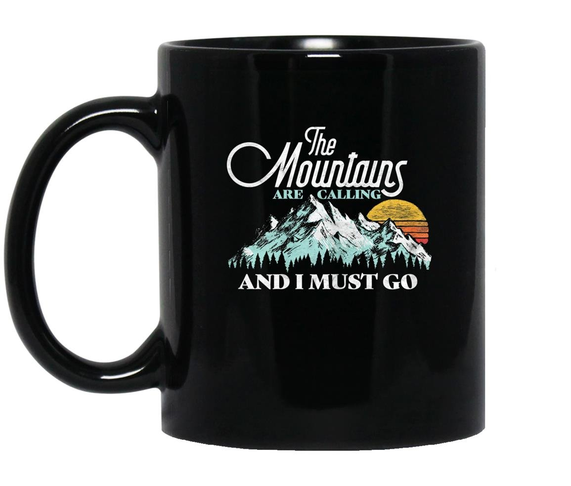 Mountains are calling i must go retro 80s vibe Mug Black