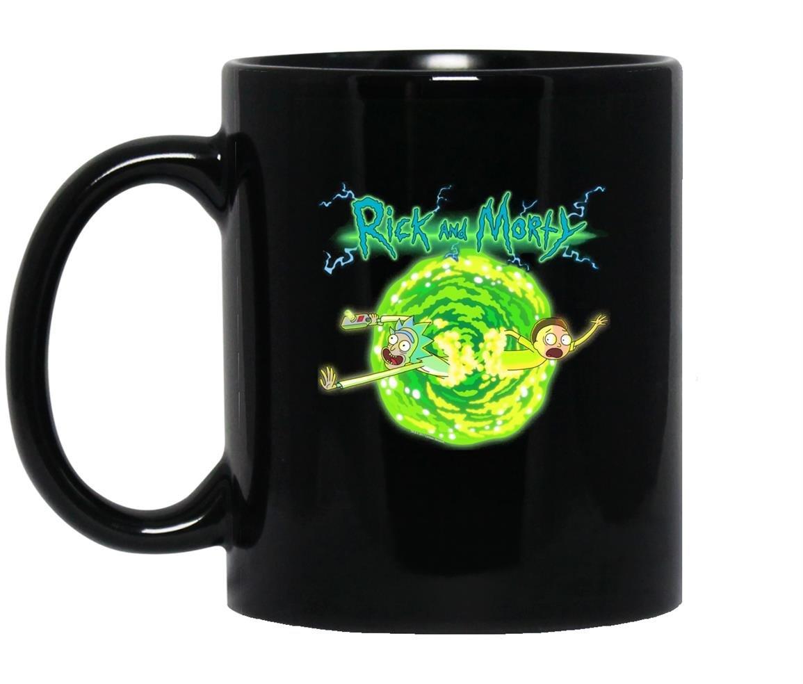 Rick morty portal glow lightning logo Mug Black