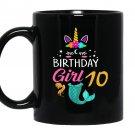 10th birthday unicorn mermaid tail 10 years old Mug Black